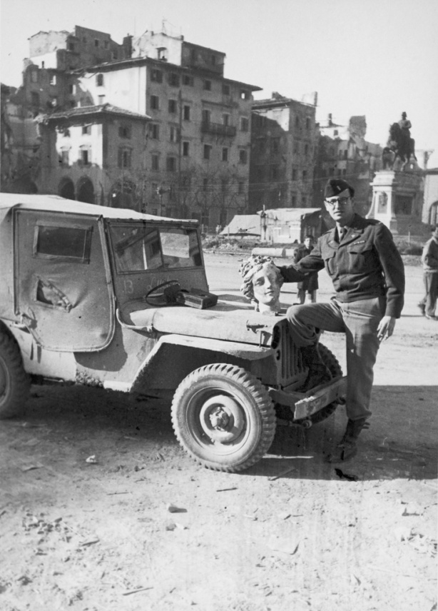 Frederick Hartt and jeep in Italy during his time as Reginal...